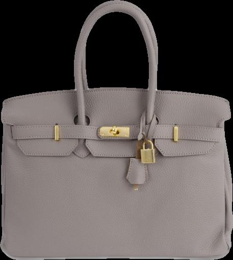 Large Grey Leather Shoulder Bag