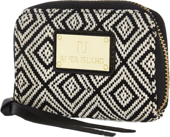 Black textured geometric print purse