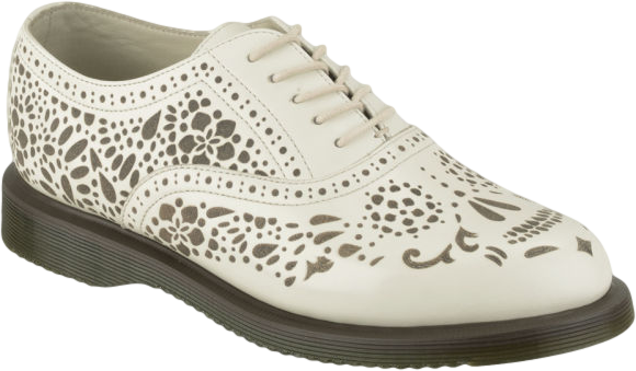 Dr. Martens Womens Kensington Aila Skull Etched 5-Eye Leather Shoes - Off White