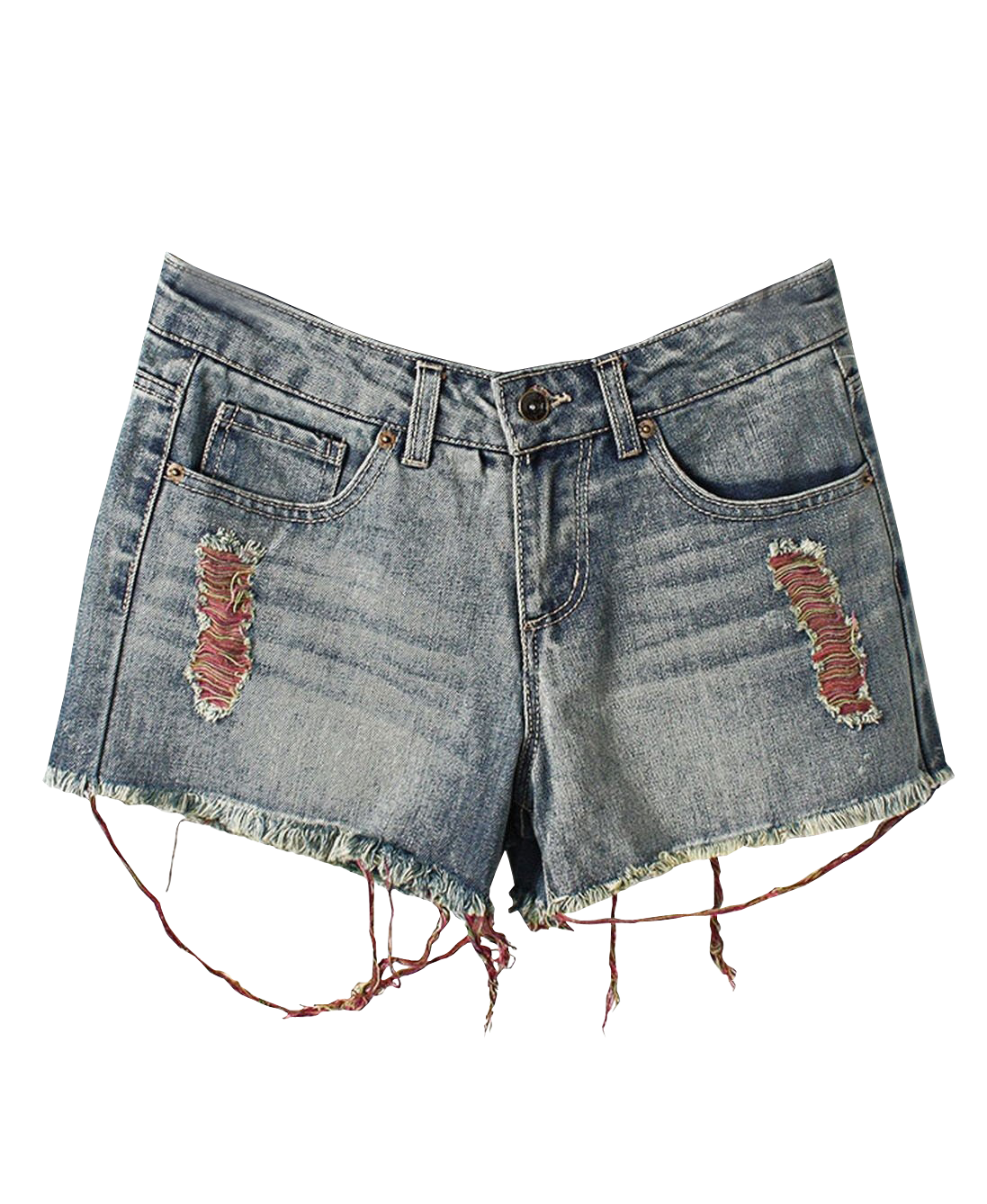 Frayed Short Jeans With Colorful Thread