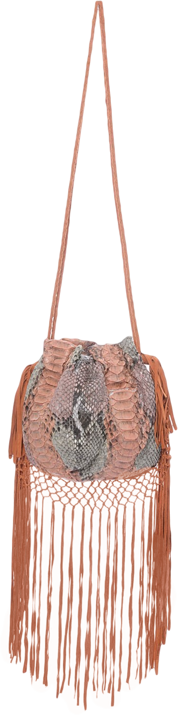 Python Leather Drawstring Tote Oyster in orange