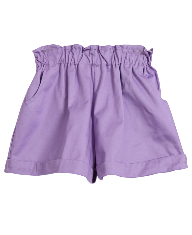 Relaxed Style Pure Color Elastic Waist Big Leg Opening Short