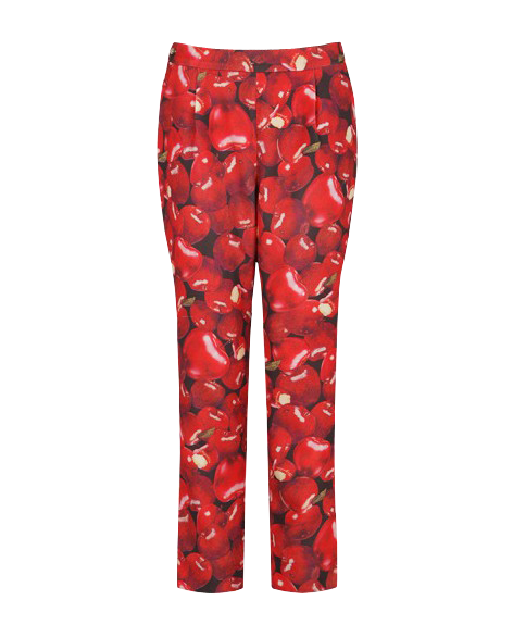 Simple Style Apple Print Pencil Capris