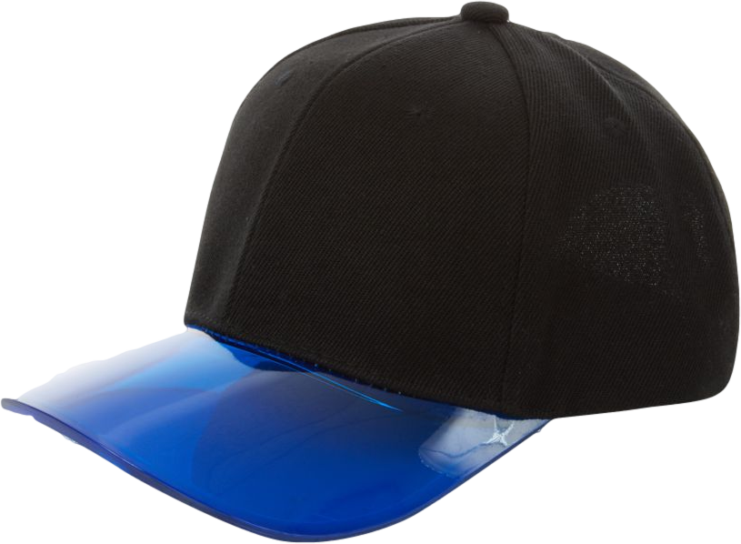 Black and Blue Plastic Flat Peak Visor Cap