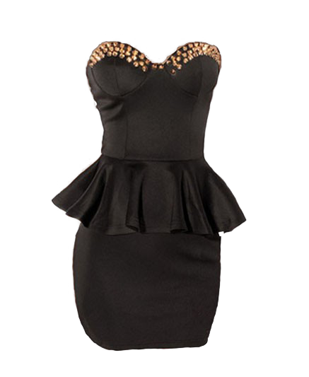 Studded Sleeveless Sweetheart Neckline Peplum Dress