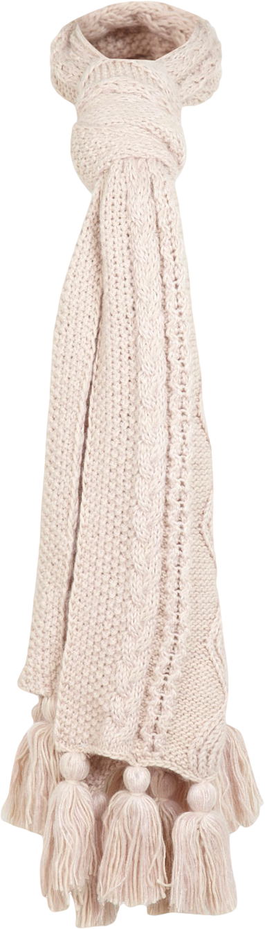 Pink Cable Fringe Scarf