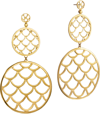 Double Round Drop Earrings. All in 18K Gold.