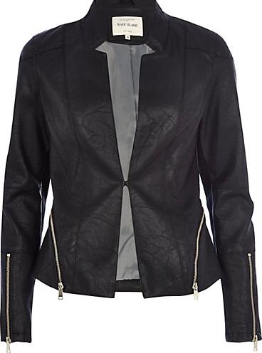 Black leather-look zip trim blazer