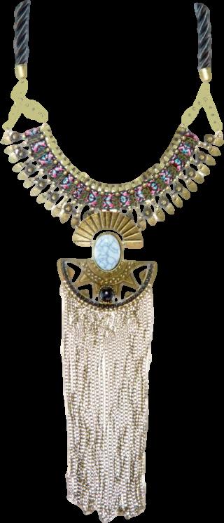 Blue Aztec Print Tape Tassel Necklace