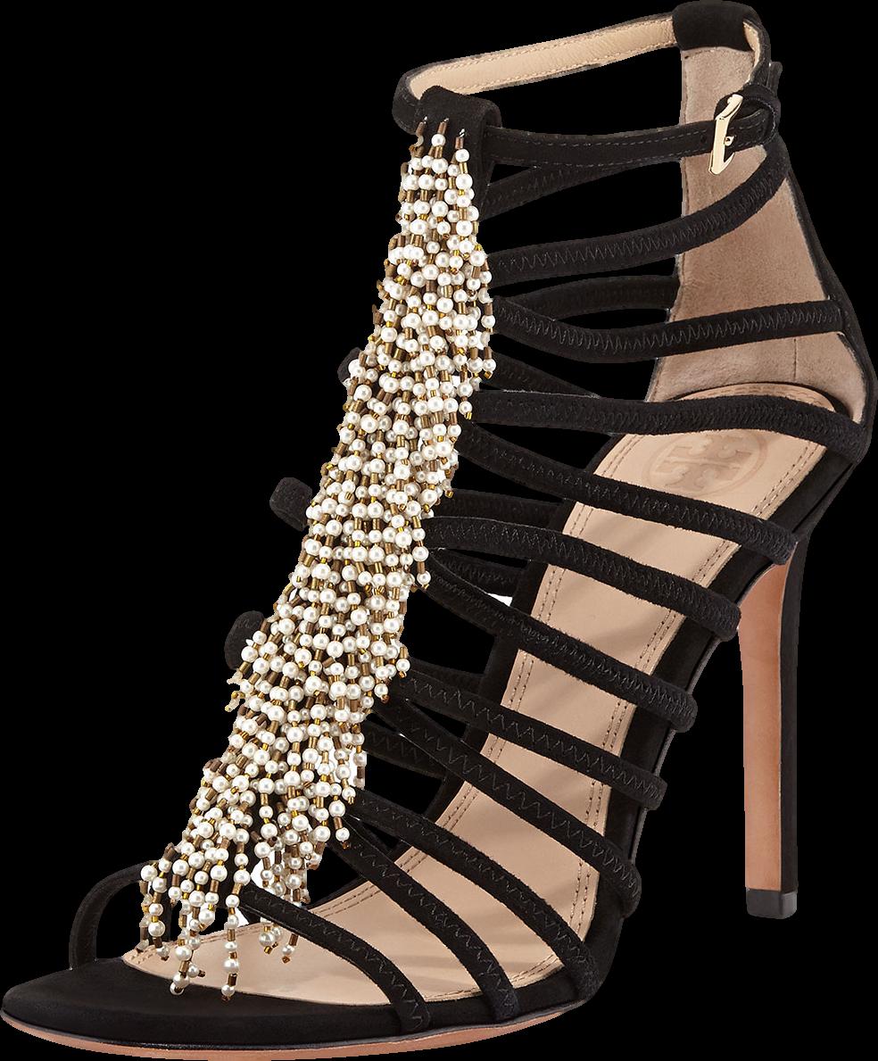 Mariel Pearly-Bead Suede Sandal, Black