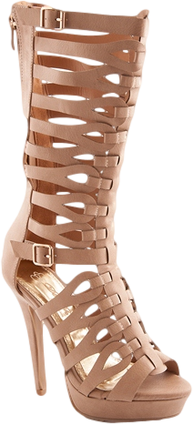 Battle Belle Tall High Heel Gladiator Sandals - Nude