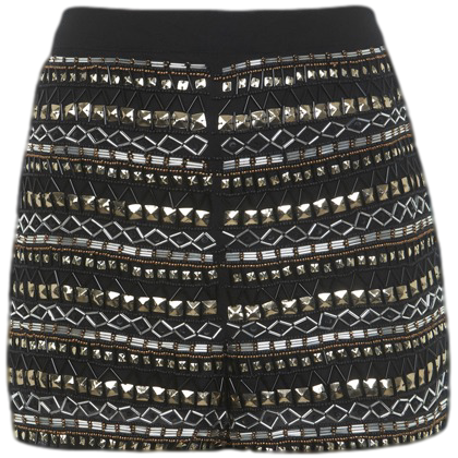 GOLD AND BLACK BEADED SHORTS